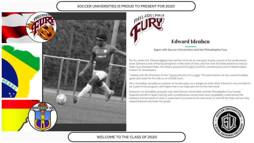 Edward Idenhen signs with Soccer Universities and the Philadelphia Fury